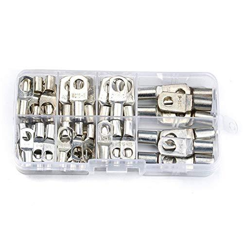 WFBD-CN Batterieklemmen 60PCS Copper Lug Ring Drahtverbinder Bare Kabel Strom Crimpanschluss mit 60PCS Wärmeschrumpfschläuche