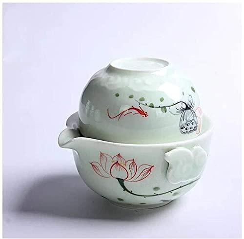 ZQADTU Exquisito juego de té, Celadon Fast Passenger Cup, Travel Portable Tea Set, Office Family Personal Cup Drink Tea Essentials para el hogar