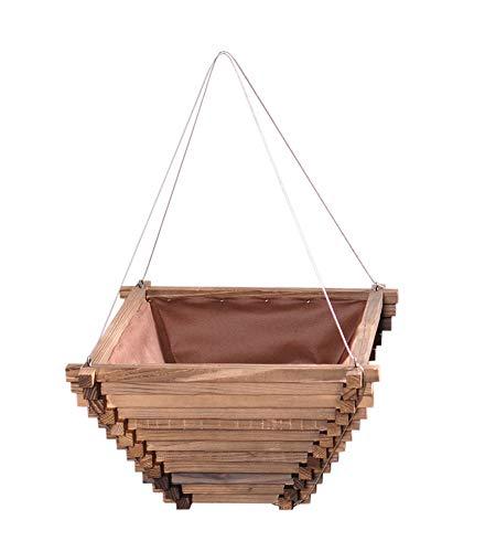 Mkuha Holz Umgekehrte Pyramiden Form Blumenampel Hängeschale Hängepflanztopf mit Stahlseil und Nichtgewebt Liner, 2