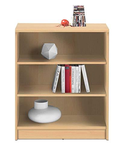 Wohnzimmerregal Standregal Bücherregal | 3 Fächer | Dekor | Buche | BxHxT: 72x86x34 cm