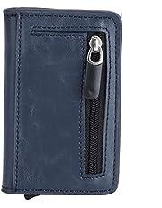 Fdit Elegante Bolso de Tarjeta de Billetera de Cuero PU portátil Unisex con Estilo Bolsa de Cambio de Efectivo con Tarjetero automático para función de Bloqueo RFID Azul