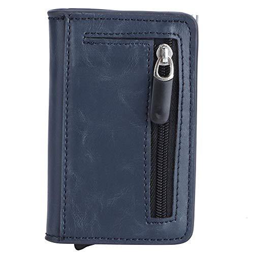 Billetera RFID unisex, Antirrobo RFID Bloqueo Chequera Billetera Billetera unisex delgada de aluminio Titular de la tarjeta de crédito Azul