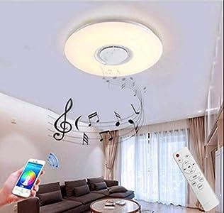 Lámpara de Techo con Altavoz Bluetooth, Luz Música Bluetooth 60W Cambio de color RGBW Regulable Lámparas de Modernas con Control Remoto/Control de la APLICACIÓN (White)