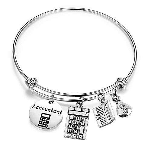 bobauna Accountant Gift Accountant Bracelet With Calculator Computer Money Bag Charms Financial Gift (accountant bracelet)