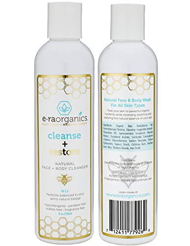 Era Organics Moisturizing Face Wash For Sensitive Skin - Gentle Sulfate Free Facial Cleanser and Body Wash with Organic Aloe Vera & Soothing Manuka Honey for Dry, Oily, Cracked, Damaged, Itchy Skin