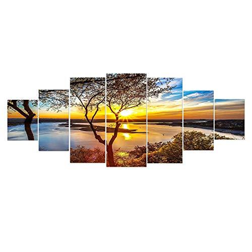 Startonight Grande Quadro su Vetro Acrilico - Alba sul Lago - Moderno Stampa xxl di 7 Parti 90 x 240 cm