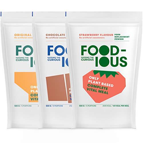 FOODIOUS Eiweißpulver Testpaket-100% Vegan-Ideal als Mahlzeitersatz oder Diät Shake-Low in Sugars Meal-3 Aromen x 500g=15 Mahlzeiten-Premium Zutaten-Astronautennahrung-Low in Zucker Protein Pulver