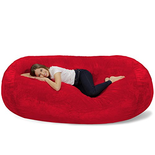 Chill Sack Bean Bag Chair: Huge 7.5' Memory Foam Furniture Bag and Large Lounger - Big Sofa with Soft Micro Fiber Cover - Red Furry