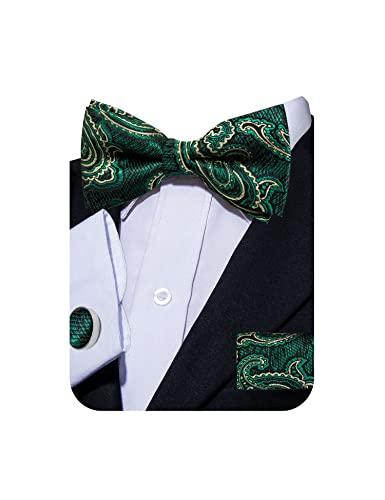 YOHOWA Mens Green Yellow Bow Tie with Pocket Square Silk Pretied Bow Tie Set Formal Wedding