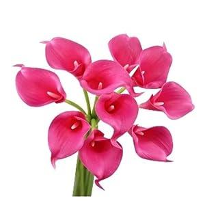 Silk Flower Arrangements Angel Isabella, LLC Lifelike Artificial Flowers Real Touch Calla Lily Bouquet Bundle 10 Stems (Begonia Pink)