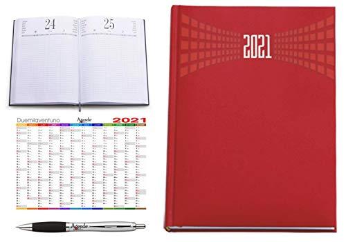 Agenda ristorante hotel prenotazioni AGENDEPOINT.IT A4 2021 giornaliera omaggio calendario annuale e penna MATRA ROSSA