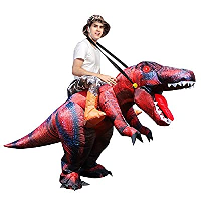 GOOSH Halloween Inflatables Costume Riding a T REX Blow Up Clearance Fancy Dress for Adults and Children Holiday Cosplay Christmas Party Unisex by