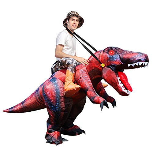 GOOSH Halloween Inflatables Costume Riding a T REX Blow Up Clearance Fancy Dress for Adults and Children Holiday Cosplay Christmas Party Unisex