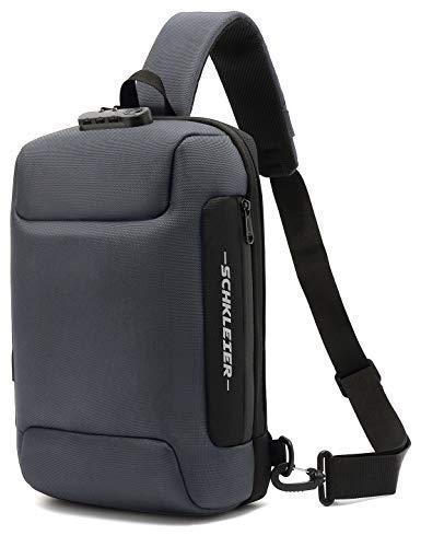 Schkleier Sling Bag USB Anti-theft Laptop Backpack, 13.3 Inch Casual Chest Shoulder Daypack for Men and Women