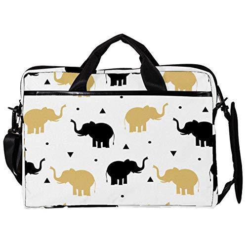 Unisex Computer Tablet Satchel Bag,Lightweight Laptop Bag,Canvas Travel Bag,13.4-14.5Inch with Buckles Black Gold Elephants Playing
