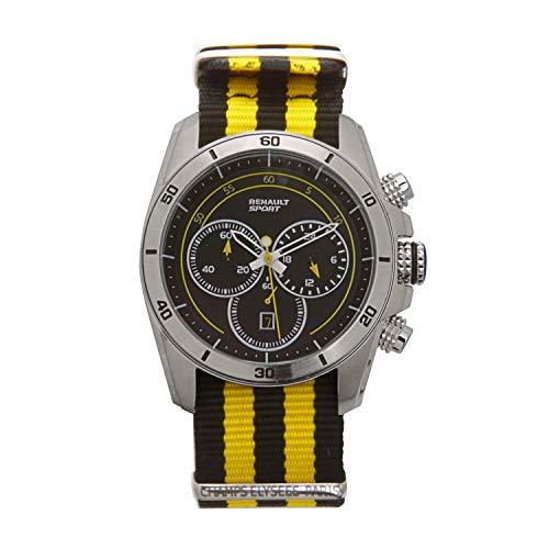 Renault Sport – Chronograph – Herren – Analog Quarz Chronograph – Armband aus Nylon schwarz und gelb