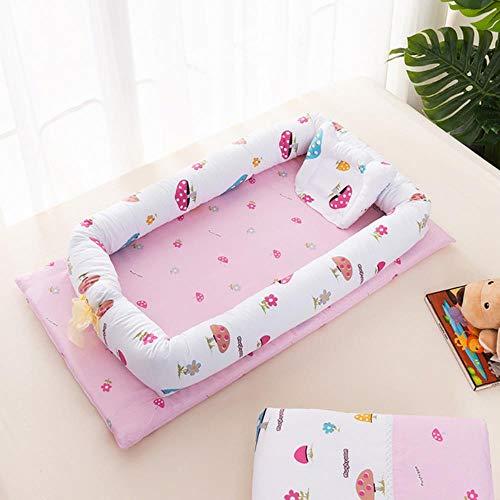 GAOYUE Babybetten Tragbares Babybett aus Baumwolle Abnehmbarer Schlafsack für Neugeborene Baby-Wiege-Kinderbett Multifunktions-Klappbett für Kleinkinder, 8