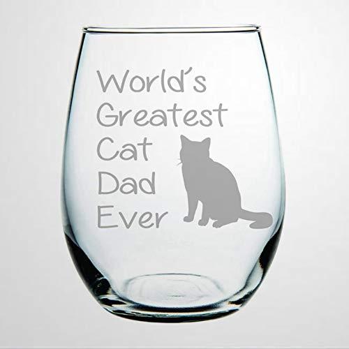 Copa de vino sin tallos de cristal del mundo con el mejor gato papá, vaso de whisky grabado, perfecto para padre, madre, niño o novia, amiga