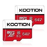 Kootion Micro SD Karte 64GB Speicherkarte Class 10 U1 Mini SD Karte MicroSDXC A1 4K UHS-I Memory Karte bis zu 80MB/s, 2er Pack MicroSD Card für Kameras Handy Tablets und Android Smartphones
