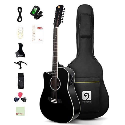 Vangoa Linkshänder 12 saitige Gitarre Elektro Akustik 4/4 Zwölf Saiten Westerngitarre mit 4-Band-Equalizer, Anfänger Kits, Schwarz