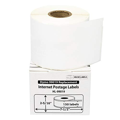 HOUSELABELS Compatible DYMO 99019 Internet Postage Labels (2-5/16' x 7-1/2') Compatible with Rollo, DYMO LW Printers, 6 Rolls / 150 Labels per Roll