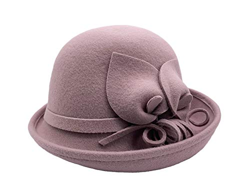 BAIMORE 100% Wool Felt Cloche Bucket Bowler Hat Wedding Hats Winter Women Church Hats Lavender