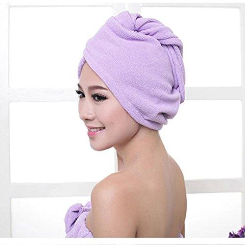Price comparison product image AIMTOPPY Microfiber Bath Towel Hair Dry Hat Cap Quick Drying Lady Bath Tool (Purple)