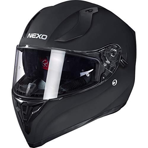 Nexo Integralhelm Motorradhelm Helm Motorrad Mopedhelm Sport II, herausnehmbare Polster, mehrfache Be-, Entlüftung, Windabweiser, klares Visier, Ratschenverschluss, Gewicht: 1.350 g, matt Schwarz, M