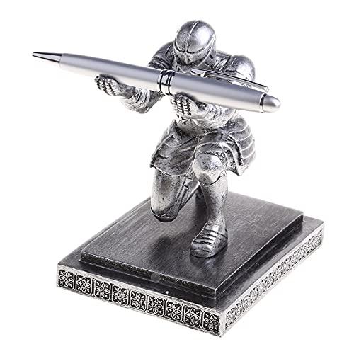 Zhichy Caballero soporte para bolígrafos Armadura Héroe Pen Papelería Resina Display Rack Estatuas Decoración del Hogar