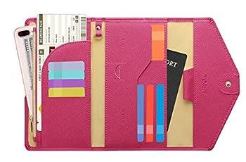 Zoppen Mulit-purpose Rfid Blocking Travel Passport Wallet  Ver.4  Tri-fold Document Organizer Holder 7 Rose Red