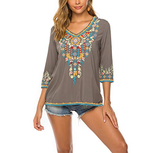 AK Women's Embroidery Mexican Bohemian Cotton Tops Shirt Tunic Blouses (Grey, Medium)