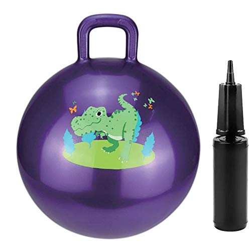 RIGMA Hopper Ball - Bouncy Ball with Handle - Air Pump Included - | Indoor / Outdoor Toy, Balance / Jumping Balls, Hippity Hop | Ages 3+ (Purple)