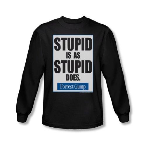 Forrest Gump - - C'est stupide hommes est-shirt à manches longues en noir, Large, Black