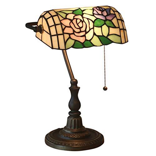 LANMOU Lámparas de Mesa Estilo Tiffany Vitrales, Lámpara de Banquero Tradicional, Lámpara de Noche para Dormitorio con Base de Aleación de Zinc e Interruptor de Línea de Tracción, E27