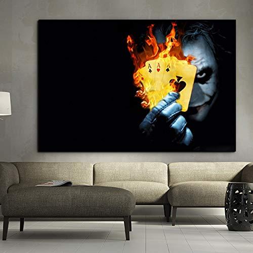 jzxjzx Burning Poker Joker póster de película Impresiones de Arte Abstracto en Lienzo Imágenes de Arte de Pared para Sala de Estar Dormitorio Decoración Moderna