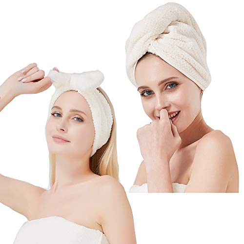 Microfiber Hair Towel Wrap, Ultra Soft & Absorbent Hair Towels Turban, 26 x 10 Inch, Fast Hair Drying, Head Towel for Natural Hair Care Anti Frizz Curly Hair Girl, with Makeup Hairband,White, 2 Packs
