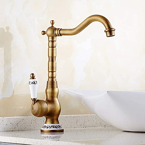 Solepearl Bad Wasserhahn, Antikes Messing Mischbatterie, Hoher Auslauf Wasserhahn Einhebel Badarmatur Waschbeckenarmatur Waschbecken Badezimmer (Hoch)