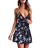 FUZHUANGHM Dress Off Shoulder Bow Printing Dresses for Women Sleeveless Bodycon Slim Mini Dress Female Vintage (Apparel)