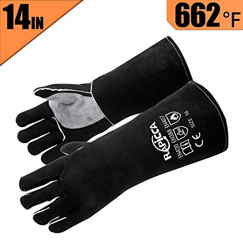RAPICCA Leather Forge Welding Gloves Heat/Fire Resistant Mitts for Oven/Grill/Fireplace/Furnace/Stove/Pot Holder/Tig Welder/Mig/BBQ/Animal handling glove with 14 inches Long Sleeve – Black
