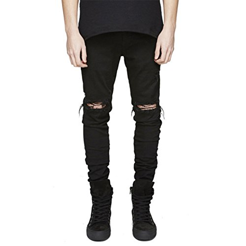 LONGBIDA Men's Ripped Slim Fit Skinny Destroyed Distressed Tapered Leg Jeans,Black,32