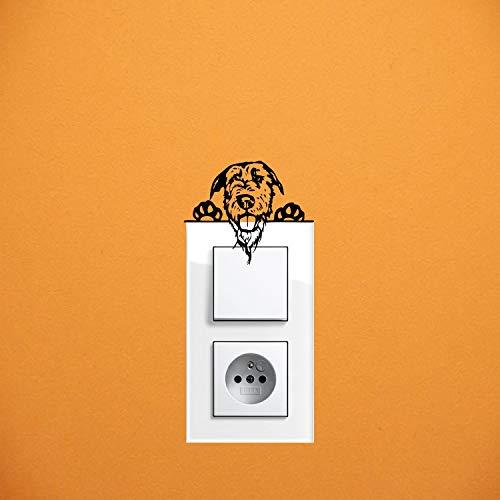 myrockshirt Adhesivo para interruptor de luz, diseño de perro lobo irlandés, aprox. 10 cm, adhesivo para coche, pintura, disco y pared, adhesivo de calidad profesional