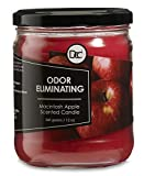 Odor Eliminating Highly Fragranced Candle - Neutralizes Pet, Smoke, Food, and Other Smells Quickly - Up to 80 Hour Burn time - 12 Ounce Premium Soy Blend (McIntosh Apple)