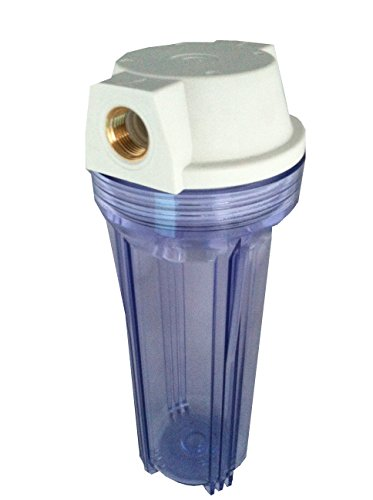 """The Water Filter Men 10"""" Water Filter Housing 3/4"""" Brass Ports & Clear Transparent Bowl Fits All 10"""" Standard Water Filters"""
