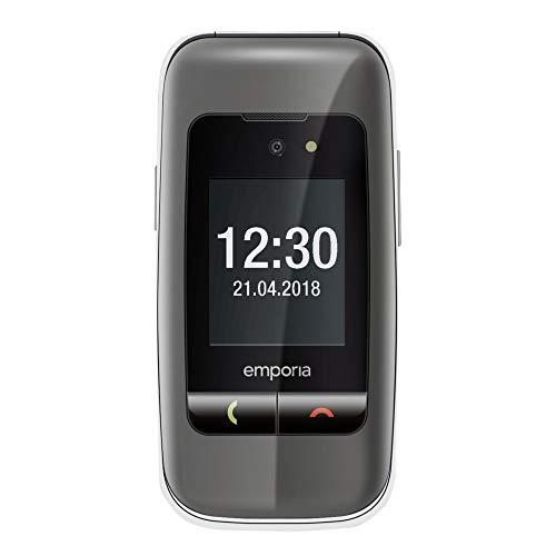 Emporia ONE V200_001_SG Einfach zu bedienendes Klappenhandy mit 2MP Kamera, Silber/Grau