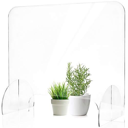 Meister Faber Plexi Schutzwand [60x50cm mit Durchreiche 36x8,5cm] | Spuckschutz Kunststoff hergestellt in Europa | Ideal als Spuckschutz Thekenaufsatz | Acrylglas