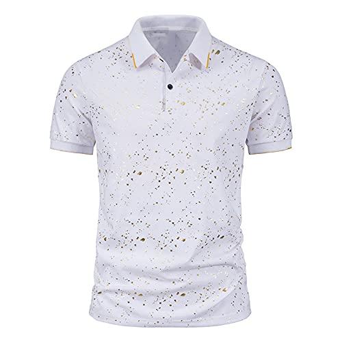 NP Spring Summer Men's spot Bronzing Printing Short-Sleeved Lapel T-Shirt