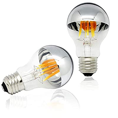 Half Chrome Light Bulb Dimmable 6W (60W Equivalent) A19 A Shape Decorative LED Edison Bulb Silver Mirror Reflected Light 2700K Warm White E26 Base Pack of 2