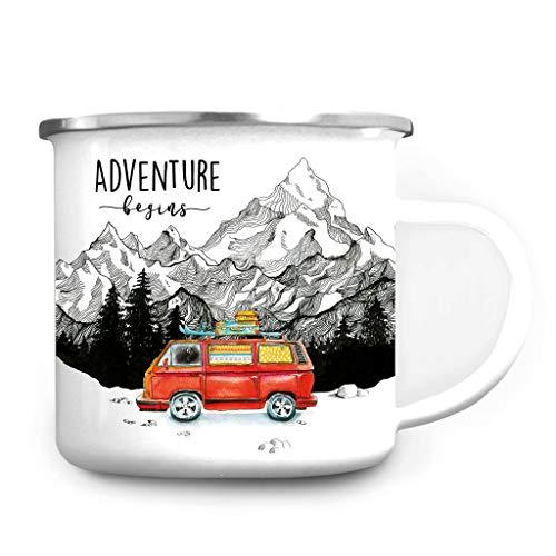 Wandtattoo Loft Emaille Campingbecher Adventure Begins Bulli Surfbus/silberner Becherrand