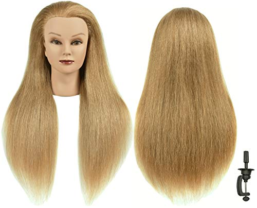 "RYHAIR 30"" Natural Real 100% Human Hair Mannequin Head Hairdresser Hairstylist Training Practice Female Professional Dyeing Styling Braiding Curling Coiling Display Cosmetology with Stand (Blonde)"