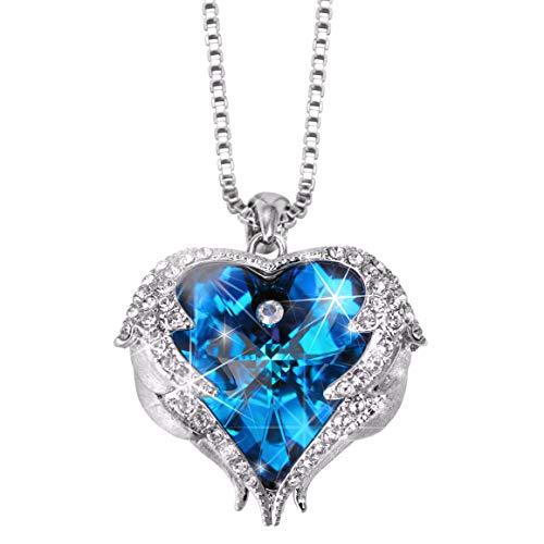 Engel Herz Anhänger Halskette mit blauem Kristall von Swarovski in Geschenkbox für Frauen, Damen Schmuck Kette ideal für Muttertag, Mutter, Tochter (Messing, Kristall)